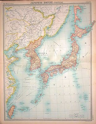 1920 LARGE MAP ~ JAPANESE EMPIRE ~ POLITICAL ~ WITH KOREA ~ 23