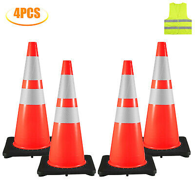 4x Traffic Safety Cones 28 Warning Roads Construction Sites 16x16 Rubber Base
