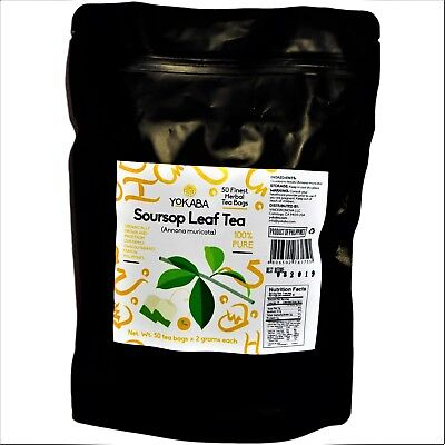 Soursop Tea 50 TEA BAGS Graviola - Annona  Muricata - Organic 100% Pure  YOKABA