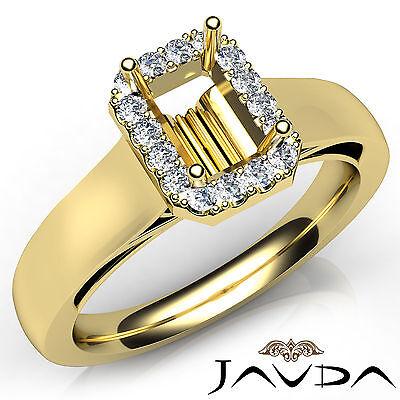 Emerald Semi Mount Ring - Pave Setting Emerald Diamond Engagement 18k Yellow Gold Semi Mount Ring 0.2Ct