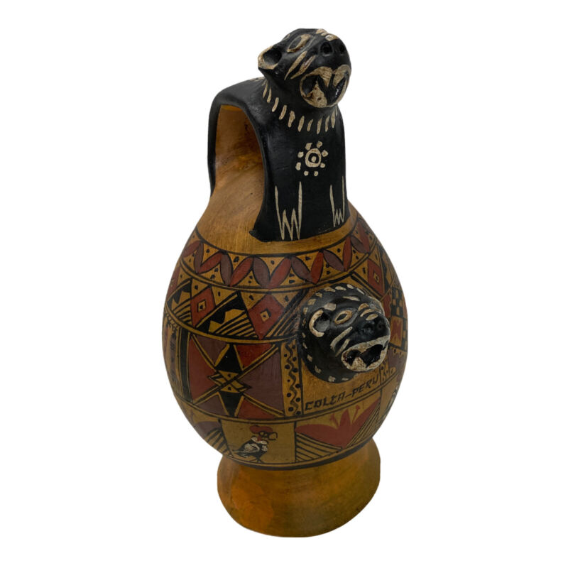 Peruvian Effigy Pottery Colca Pot Hand Painted Birds Animals Terracotta 8in