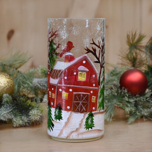 LED Winter Barn Flameless Pillar Christmas Candle Tabletop Decoration