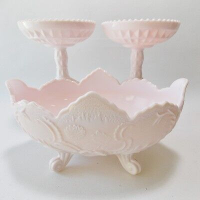 VINTAGE TRIO SHELL PINK MILK GLASS JEANNETTE GLASS CO LOMBARDI BOWL TWO COMPOTES
