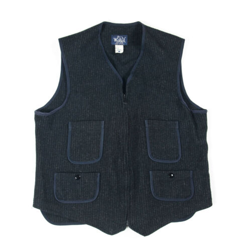 VTG WOOLRICH WOOL VEST BLACK BUCKLE BACK BROWN