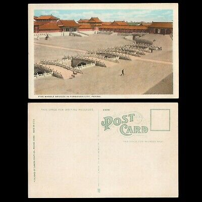 1920s PEKING CHINA Unposted FORBIDDEN CITY FIVE MARBLE BRIDGES Postcard