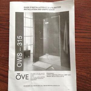 Porte de douche en verre neuve OVE