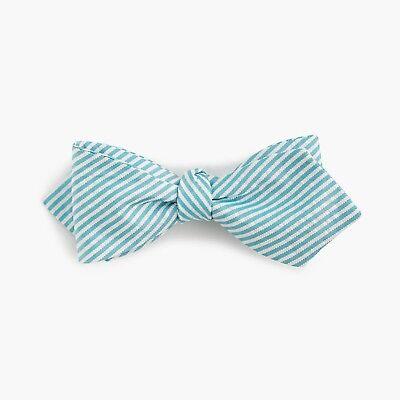 New J Crew English Silk Bow Tie Green White Seersucker Stripe Made in USA NWT White Stripe Bow Tie