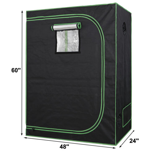 48″x24″x60″ Mylar Hydroponic Grow Tent with Observation Window and Floor Tray Grow Tents, Dry Racks & Shelves