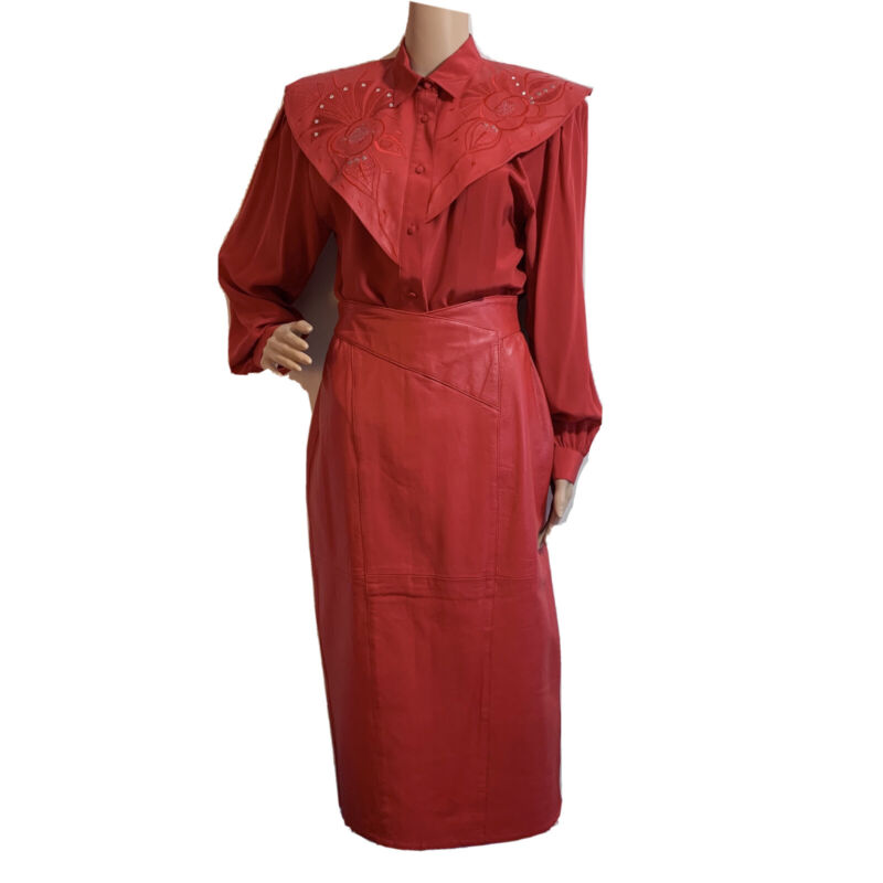 Vintage Red Women Skirt Suit Sz 10 Silk Leather Embroidered Sequined by Suzelle