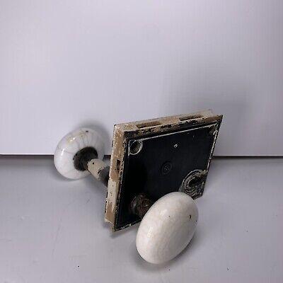 Vintage Porcelain Door Knobs Black Lock Plate White Knobs Antique Americana