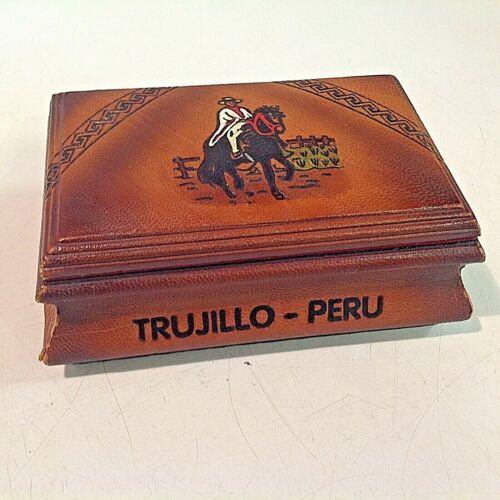 Vintage Souvenir Leather Felt Mirrored Jewelry Box Trujillo Peru Horse and Rider