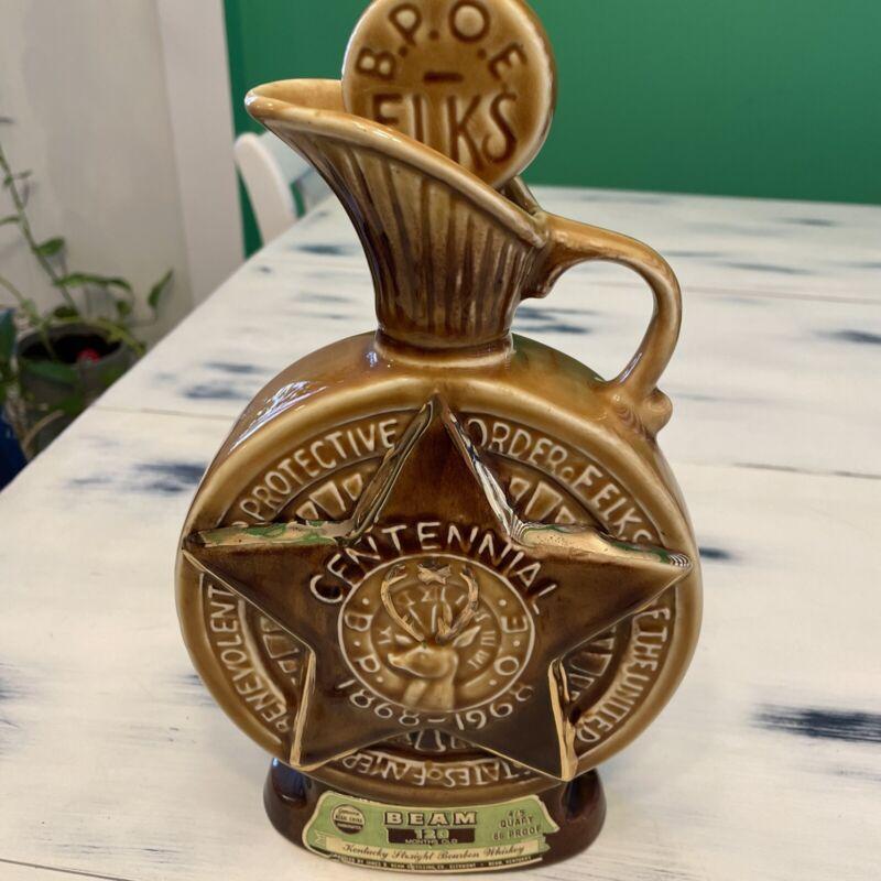Vintage Jim Beam BPOE ELKS Centennial Bourbon Whiskey Decanter Bottle