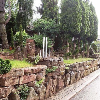 Buntsandstein Natursteinmauer Trockenmauer Sichtschutz Garten Mauer Stützmauer