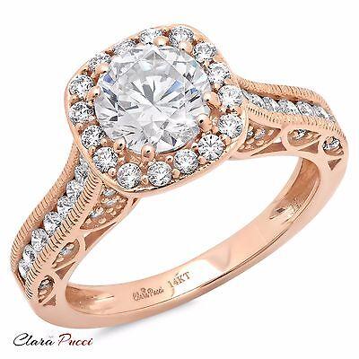 1.95 CT Round Cut Halo Wedding Engagement Bridal Ring Band 14k Rose Gold