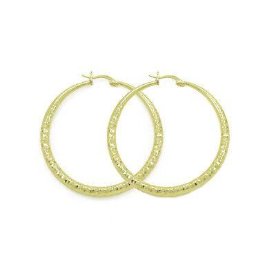 Women Medium Real Gold Plated Round Hoop Earrings 14k Gold Layered (50mm x 4mm) 4mm Medium Hoop Earrings