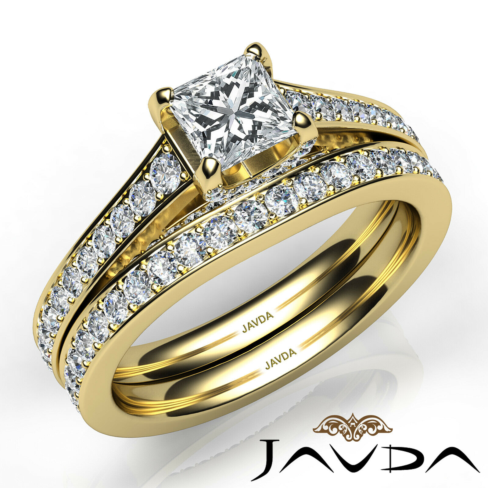 2.05ct Accent Bridge Pave Bridal Princess Diamond Engagement Ring GIA F-VS2 Gold 9