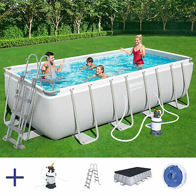 BESTWAY Power Steel Pool Swimmingpool Sandfilter Leiter Cover 488x244x122cm
