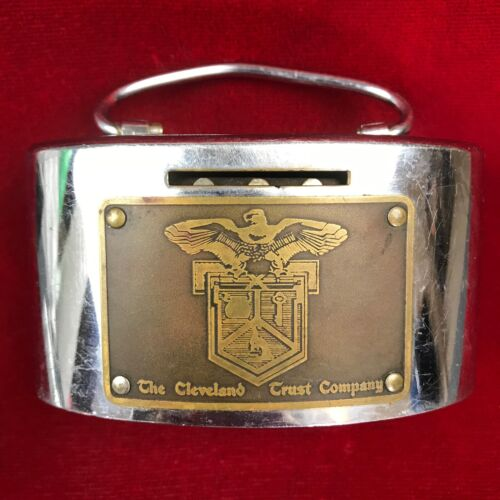 Antique Metal COIN BANK The Cleveland Trust Company OHIO Oval with Handle
