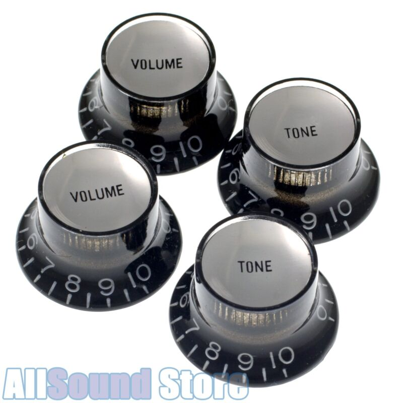 Set of 4 BLACK Bell Top Hat Knobs w/ SILVER Reflectors for Gibson USA, CTS Pots