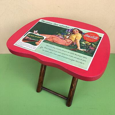 COCA-COLA Vintage Ad on Folding Stool/Small Display Table  (Coca Cola Folding Table)