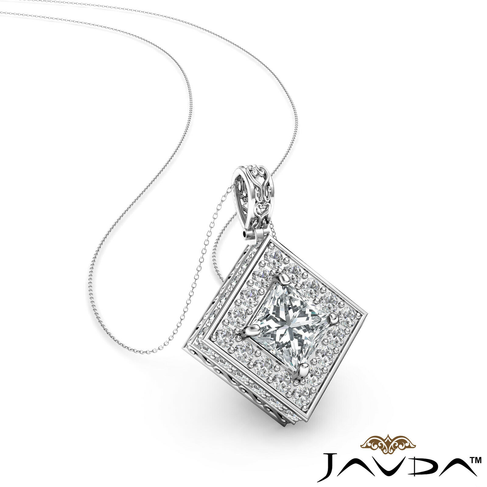 Kite Style Halo Princess 100% Natural Diamond Filigree Pendant Necklace 1.17ctw.