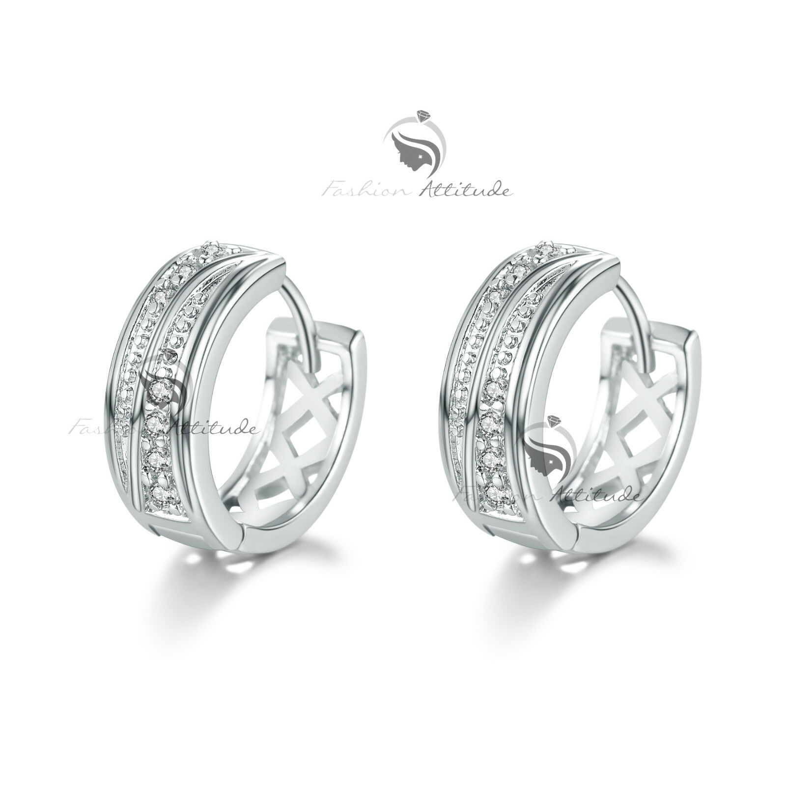 18k White gold gf made with swarovski crystal filigree huggies
