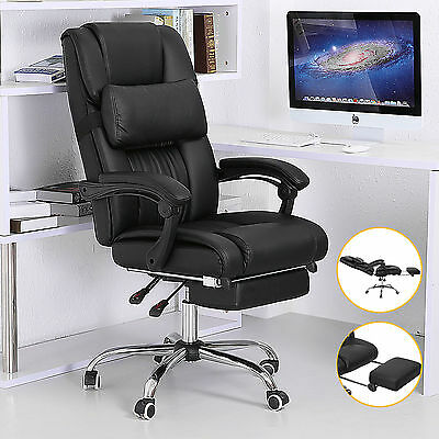 Executive Office Chair High Back Reclining Black Leather Computer Desk Footrest