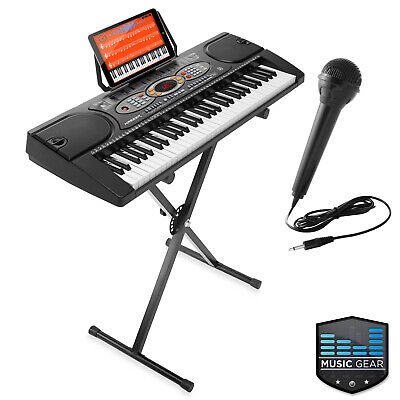 61-Key Electronic Keyboard Portable Digital Music Piano with USB, Mic, and -