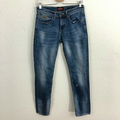 SuperDry Skinny Jeans Sz 28x32 Blue Denim Distressed