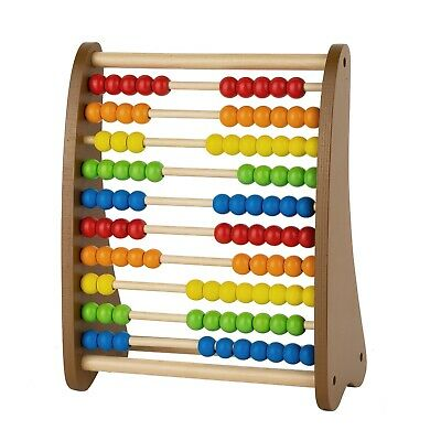 Wooden Bead Abacus Classic Counting Tool, Add, Subtract, Math Activity Center,