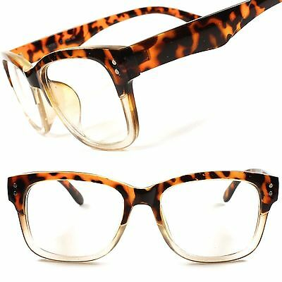 Classic Retro Nerd Geek Look Mens Womens Clear Lens Eye Glasses Tortoise (Nerd Look Glasses)