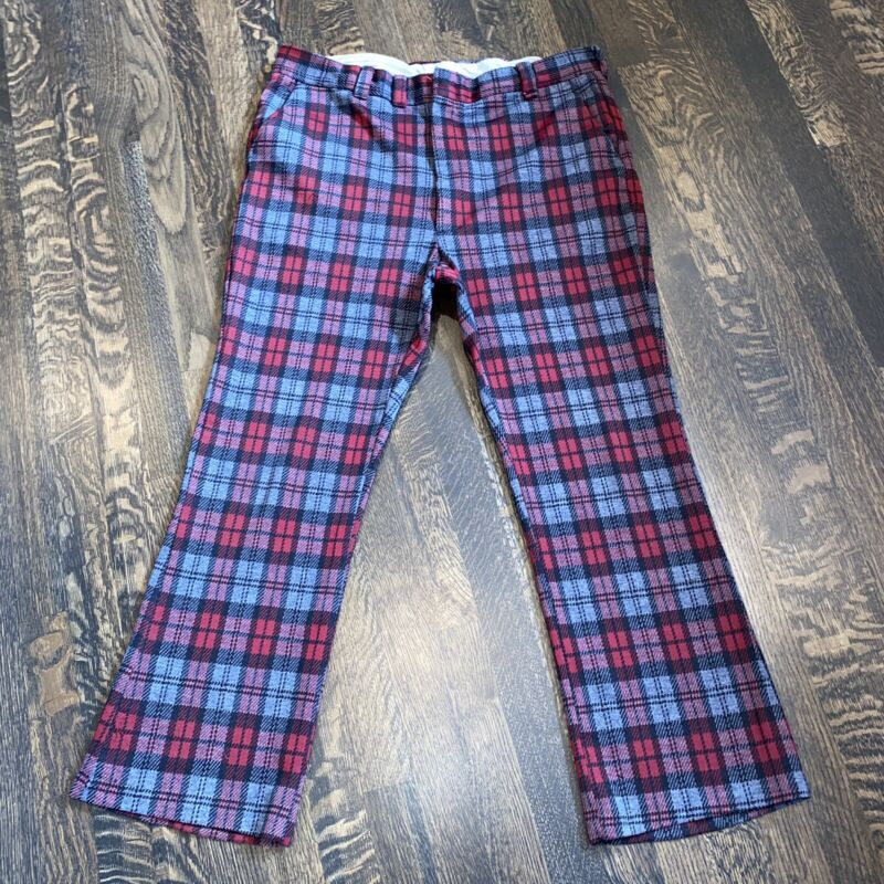 Vtg 60s 70s PANTS Plaid POLYESTER Leisure Suit Slacks Disco Flare Leg MENS 38 29