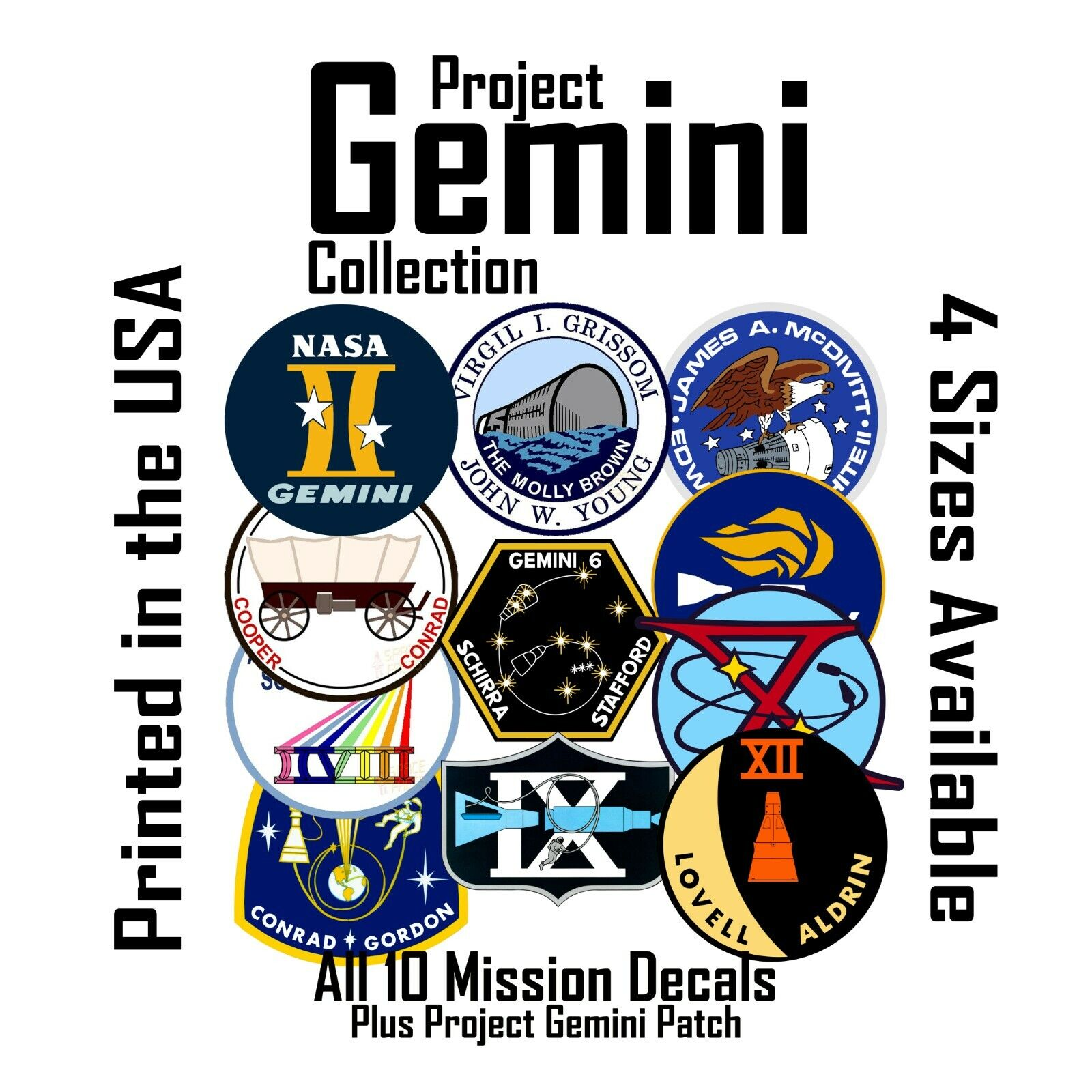 ::Project Gemini tribute. All NASA Mission patches as decals stickers
