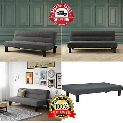 Adjustable Gray Wood Frame 3 Position Microfiber Futon Convertible Couch Bed