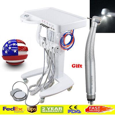Usa Portable Dental Desk Delivery Unit Cart Moveable Treatment Led Handpiece