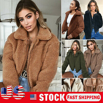 US Womens Teddy Bear Oversized Coat Ladies Borg Zip Faux Fur Jacket Size 6-14 Fur Coat Teddy Bears