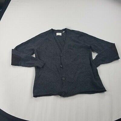 Billy Reid Men's Sweater Gray Cardigan Button Front  Medium elbow patch wool bln