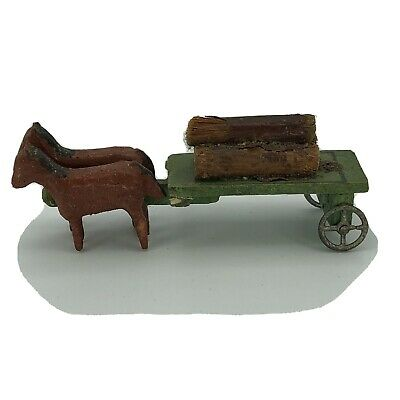 Wooden Vintage Erzgebirge German Putz Christmas Village Horse Drawn Log Wagon