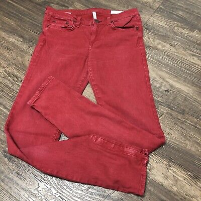 Rag & Bone Skinny Zipper Jeans Red Womens Size 29