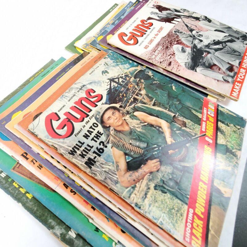 Vtg Guns Magazine Lot (13) 1958 1960 1962 1964 1968+ Shooting Firearms Hunting