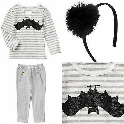 New Gymboree Crazy 8 Girl Halloween 3pcs Outfit Tee Pants Hair Accessory Bat 2T](Crazy Halloween Outfits)