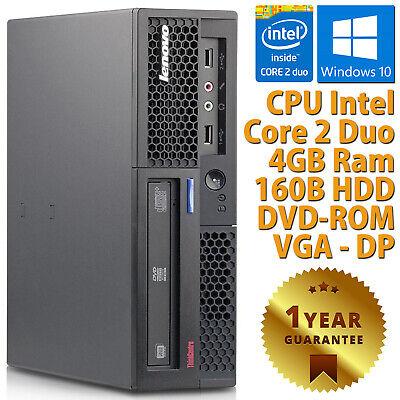 PC COMPUTER DESKTOP RICONDIZIONATO LENOVO DUAL CORE RAM 4GB HDD 160GB WINDOWS 10