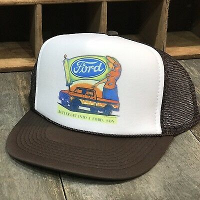 70s Hat (Ford Truck Vintage 70's Or 80's Style Trucker Hat Mwah Snapback Cap Brown )