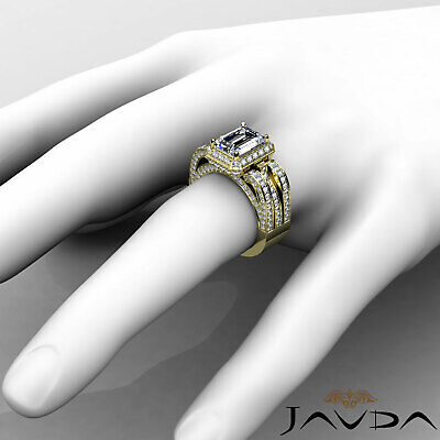 3 Row Shank Radiant Diamond Engagement Pave Ring GIA G Color SI1 Clarity 2.7 Ct 9