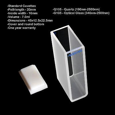Azzota 20mm Pathlength Quartz Cuvettes - 7ml