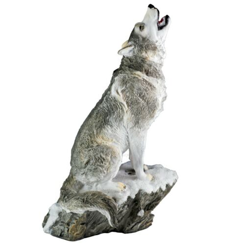 """Gray Wolf Sitting In Snow Howling Figurine Statue 9""""H Detailed Resin New"""