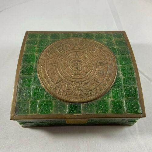 Vintage Aztec Calendar brass and green glass cedar lined box