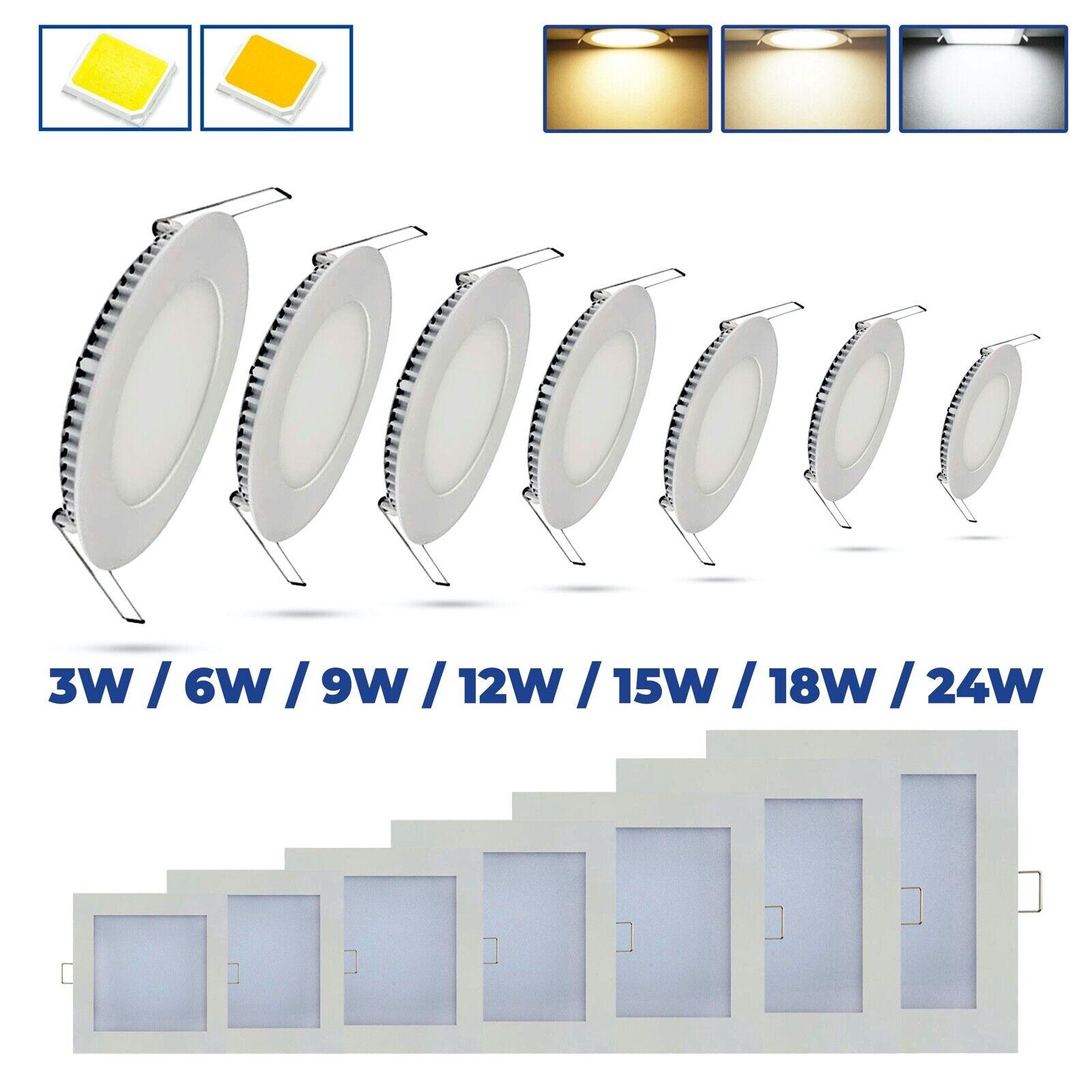 LED Panel Ultraslim Einbaustrahler Einbauleuchte Deckenleuchte flach rund eckig