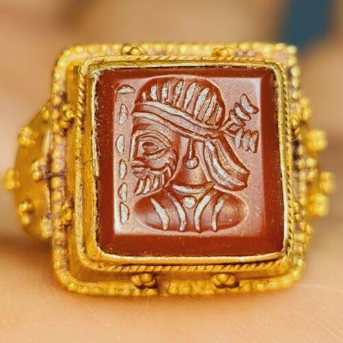 Ancient king agate seal intaglio stone 22k karat Gold Ring 8.59 grams # 145
