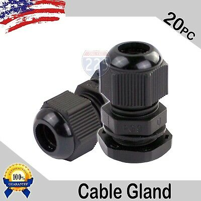 20 Pcs PG9 Black Nylon Waterproof Cable Gland 4-8mm Dia. w/ Lock-Nut & Gasket US